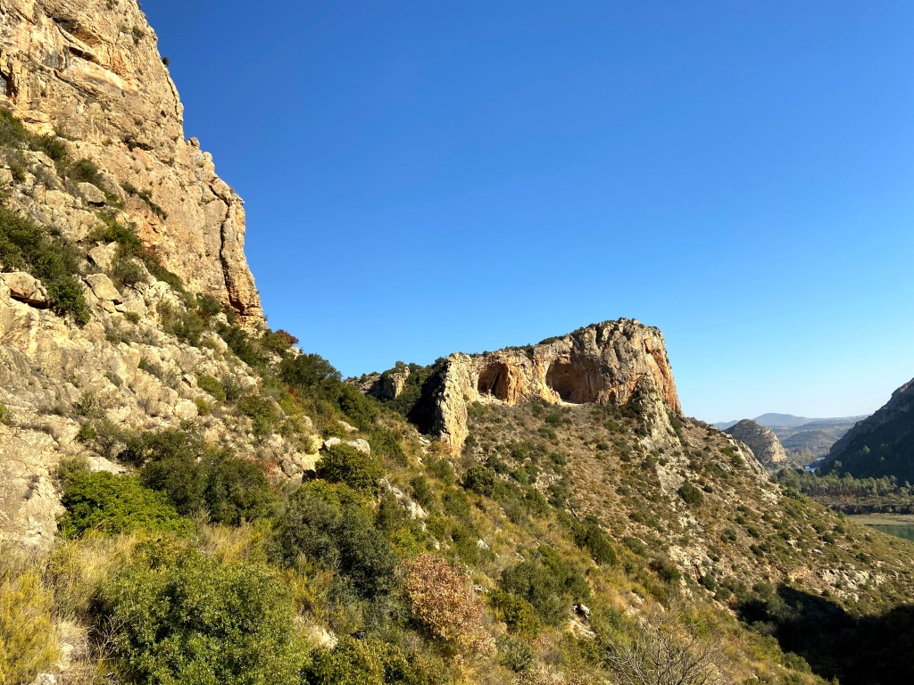 View of the two caves 'Disblia' from across the valley