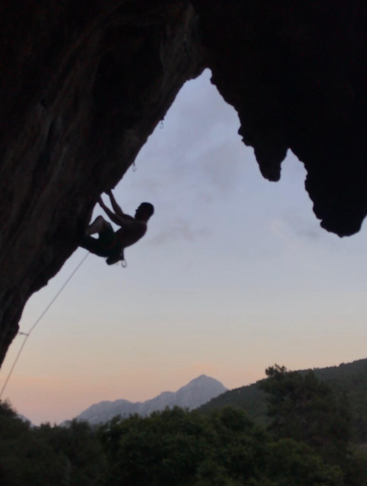 Climber on River Dance at Alabalik sector