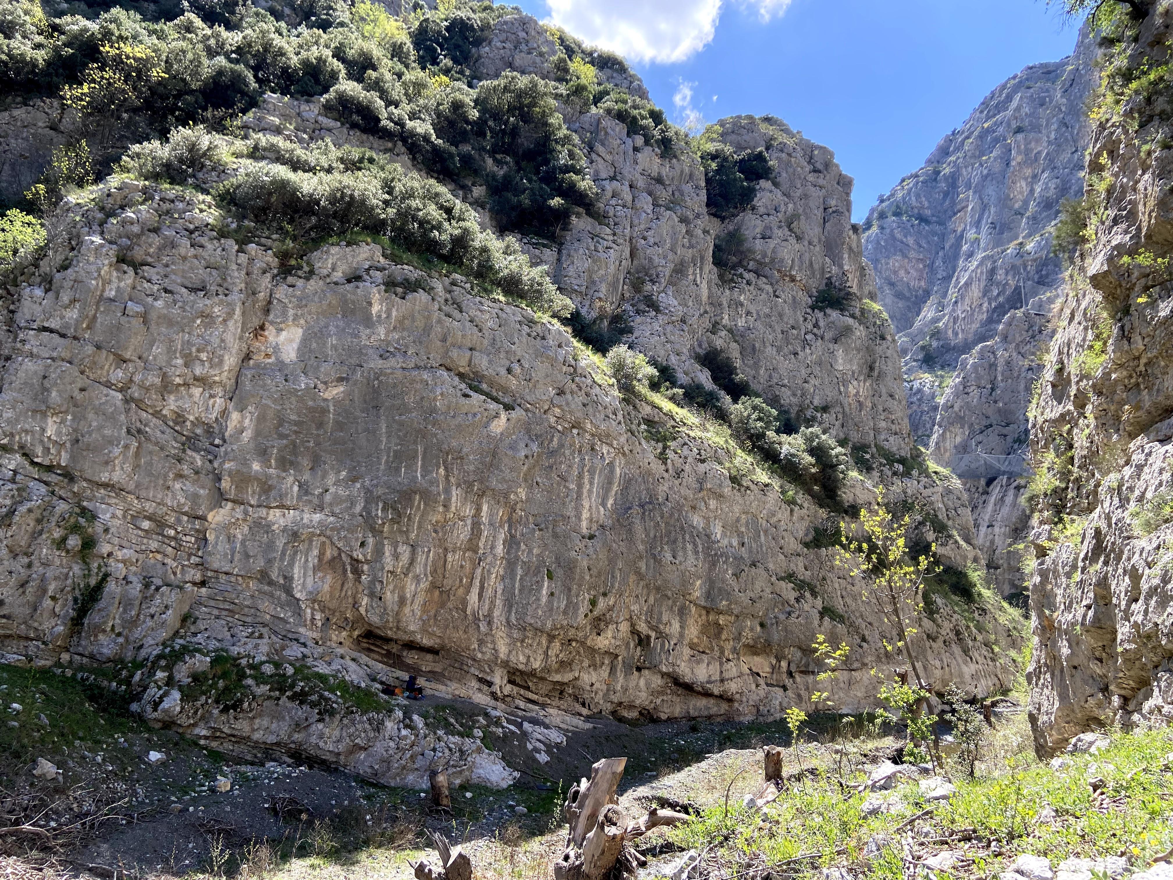 Extensive rock outcrops of the deep gorge of Demir Kapija.