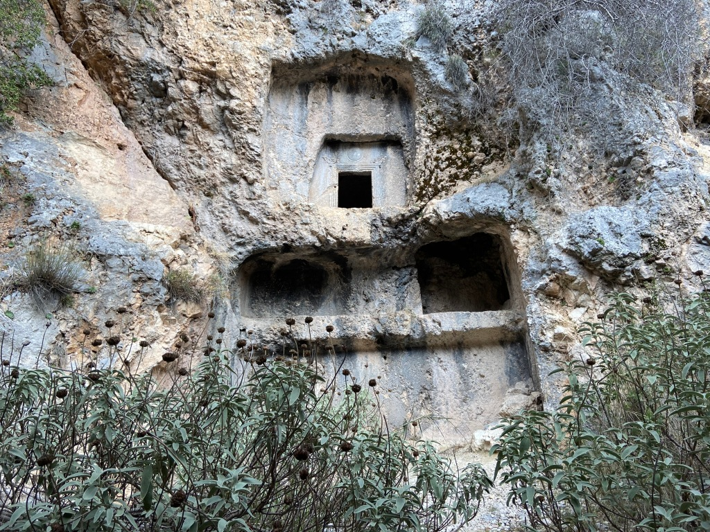 Rooms carved out of the rock with some detailed carving around the door