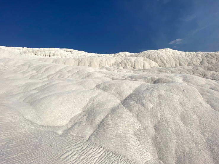 White mineral deposits as white as snow which is like a glacier.