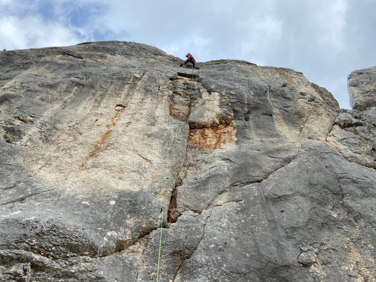 Climber on a route at sector Rebro at Blagaj
