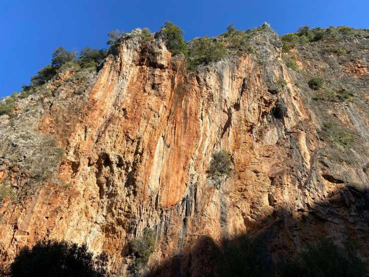 Orange limestone of the left sector of the gorge.