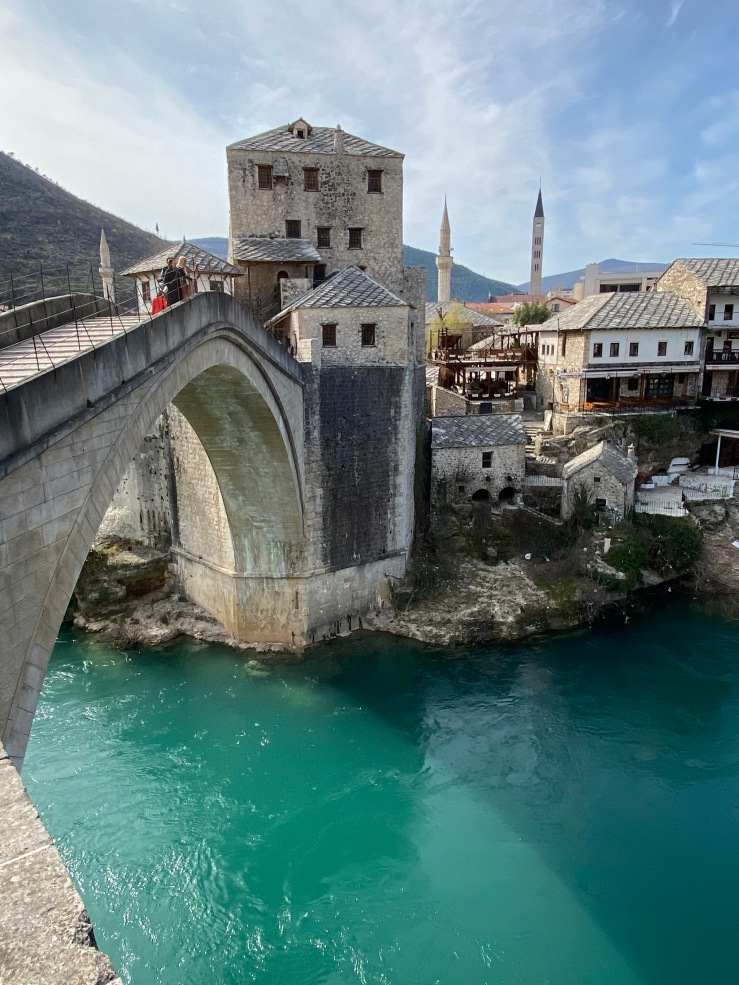 Historic ottomon stone bridge at Mostar, Bosnia and Herzegovina. One of the most ionic places in the country.